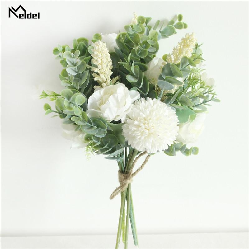 Meldel Silk Peony Lucky Ball Artificial Silk Flower Home Decoration Wedding Fake Flower Bouquet Party Accessories Decor Flowers