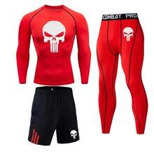Men's Sportswear Thermal-Underwear-Set Skull-Compression-Set Training Winter Gym Long-Sleeve