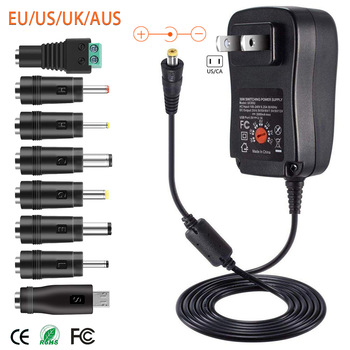 30W US/UK/AU/EU Universal Power Adapter 3V 4.5V 5V 6V 7.5V 9V 12V AC DC Charger Converter + 5V 2.1A USB Port With 8Pcs jack 1
