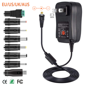 30W US/UK/AU/EU Universal Power Adapter 3V 4.5V 5V 6V 7.5V 9V 12V AC DC Charger Converter + 5V 2.1A USB Port With 8Pcs jack