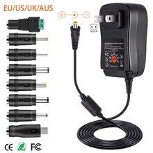 Adaptador de energia universal 30w us/uk/au/ue, 3v 4.5v 5v 6v carregador conversor + 5v 2.1a, 7.5v 9v 12v ac dc porta usb com 8 peças jack