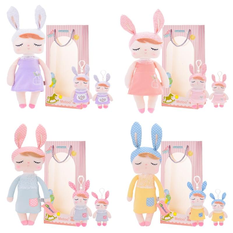 Metoo Plush Toys Stuffed Dolls Angela Dreaming Girl With Box Plush Rabbit Girl Gift Toys For Kids Easter 3 Set