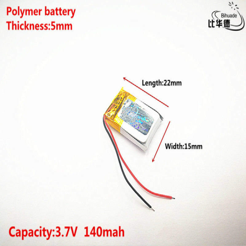 5pcs Liter Energy Battery Good Qulity 3.7V,140mAH,501522 Polymer Lithium Ion / Li-ion Battery For TOY,POWER BANK,GPS,mp3,mp4