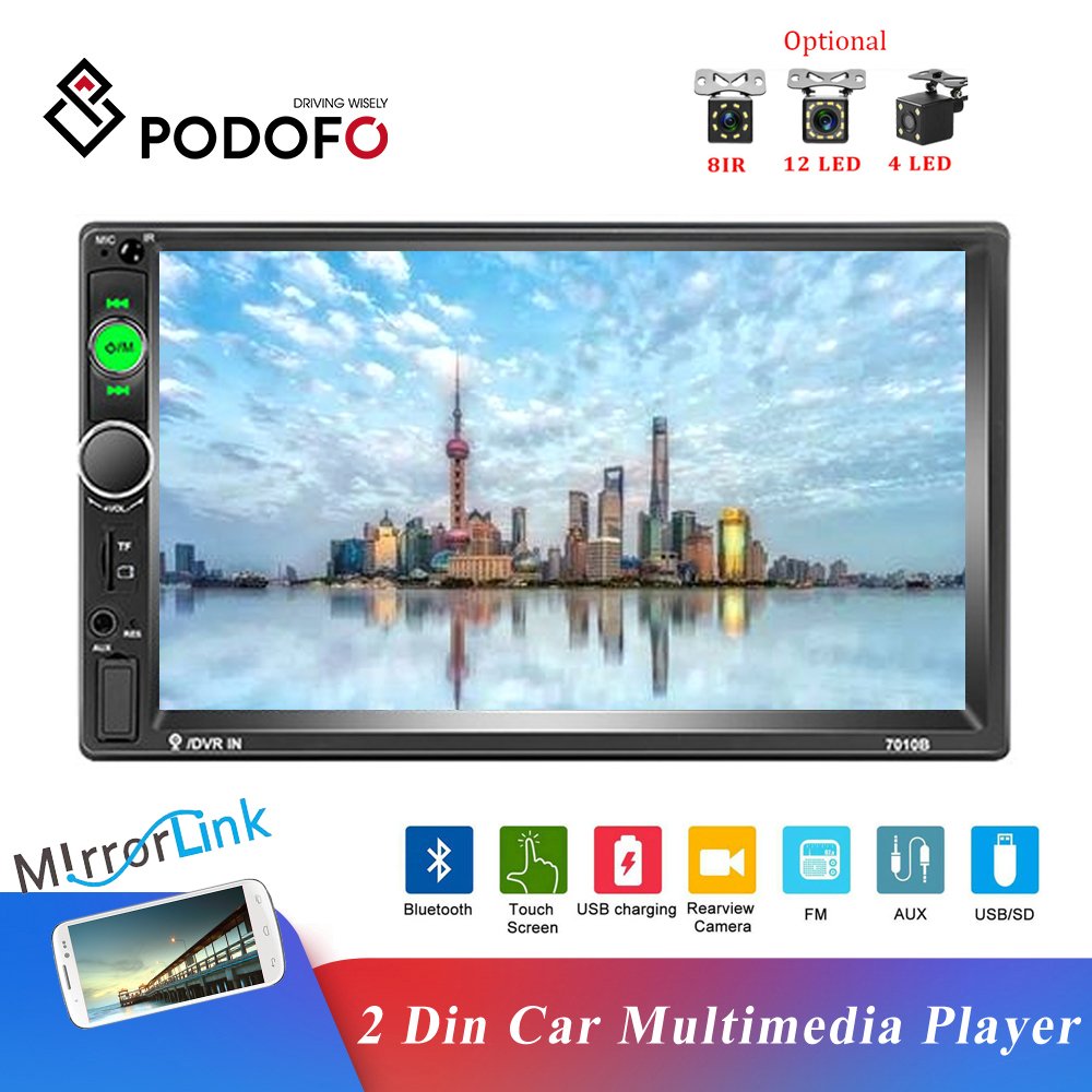 Podofo Universal 2 Din Car Radio 7 INCH HD Touch Screen Multimedia Player Bluetooth Autoaudio FM Receiver Mirror Link Monitor