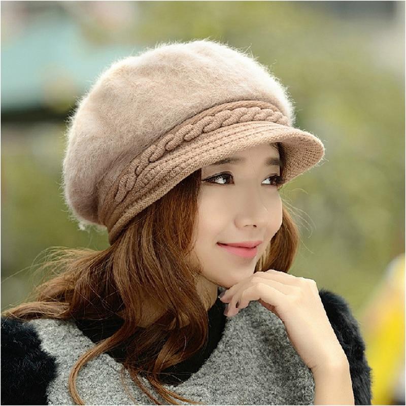 2019 New Fashion Winter Women cappello da berretto in pelliccia di coniglio elegante berretto piatto solido da donna addensare paraorecchie calde cappello a cuffia in lana lavorato a maglia 2