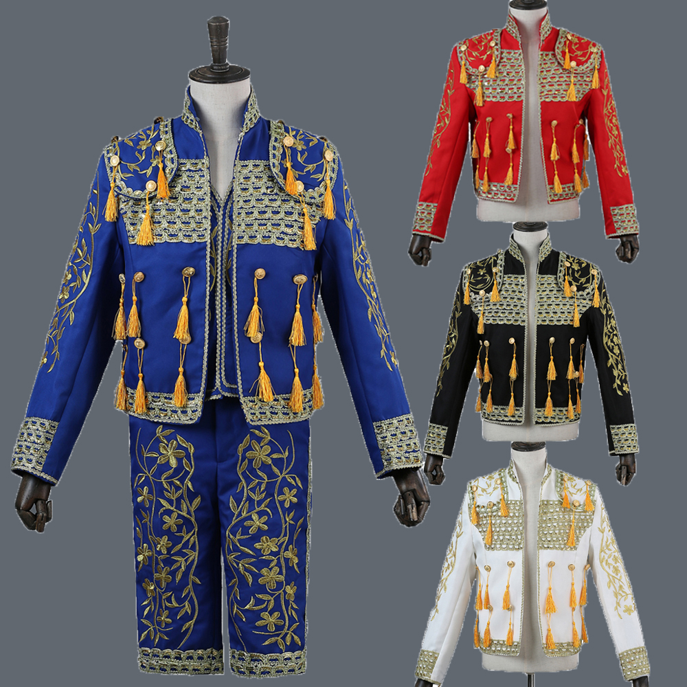 Men's Classic Royal Court Red Suit Stage Wear Show Suits Spain Bullfight Dance Costume Gold Tuxedo Jacket Party Wedding DT1490