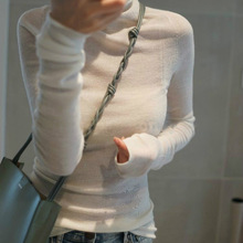 2020 Worsted ultra-thin high-necked pure color micro-slim slim sweater women's b