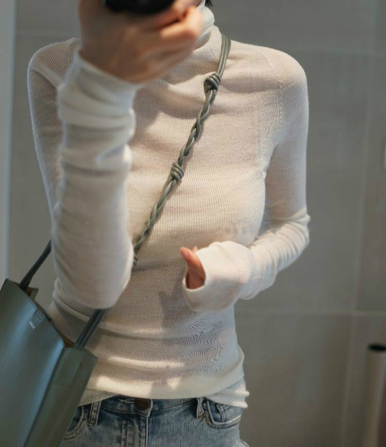 2020 Worsted Ultra-thin High-necked Pure Color Micro-slim Slim Sweater Women's Base Sweater Knit 2020 New One-generation Hair