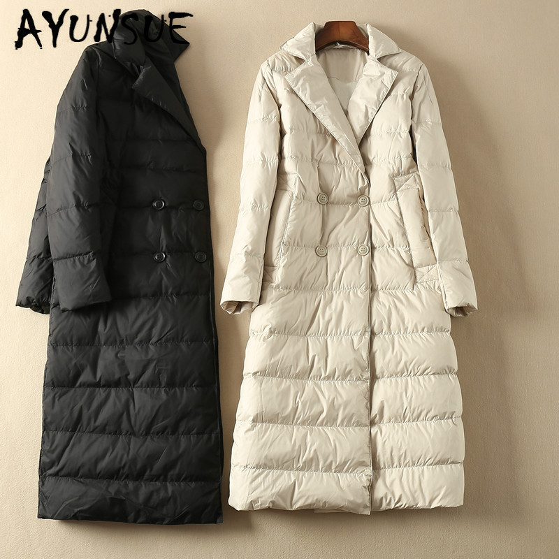 AYUNSUE Long Winter Coat Women Down Coat Korean White Duck Down Jacket Women Hooded Puffer Jacket Warm Parka Casaco YY1519