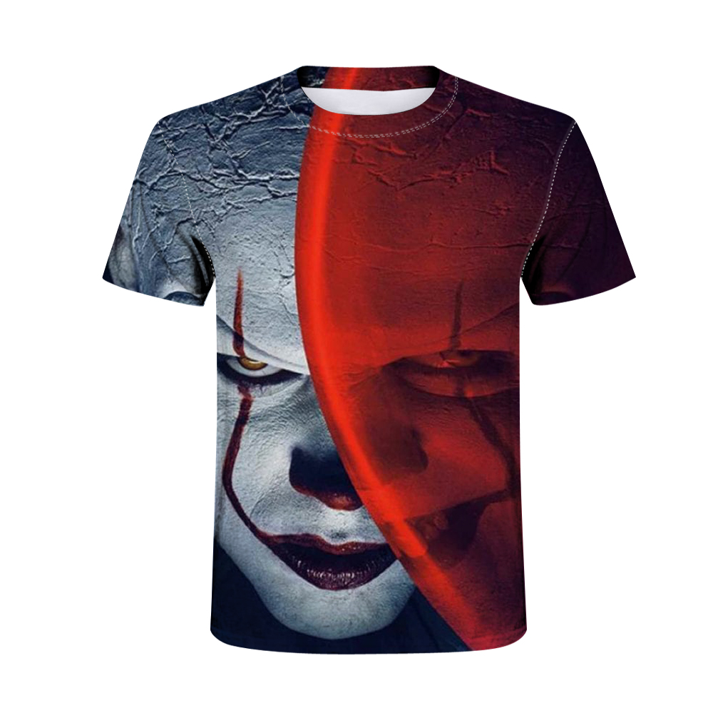 Clown Print Men's T-Shirt Men and Women <font><b>Pennywise</b></font> Personality Creative <font><b>tshirt</b></font> Horror Movie Funny T-Shirt Tops Halloween image
