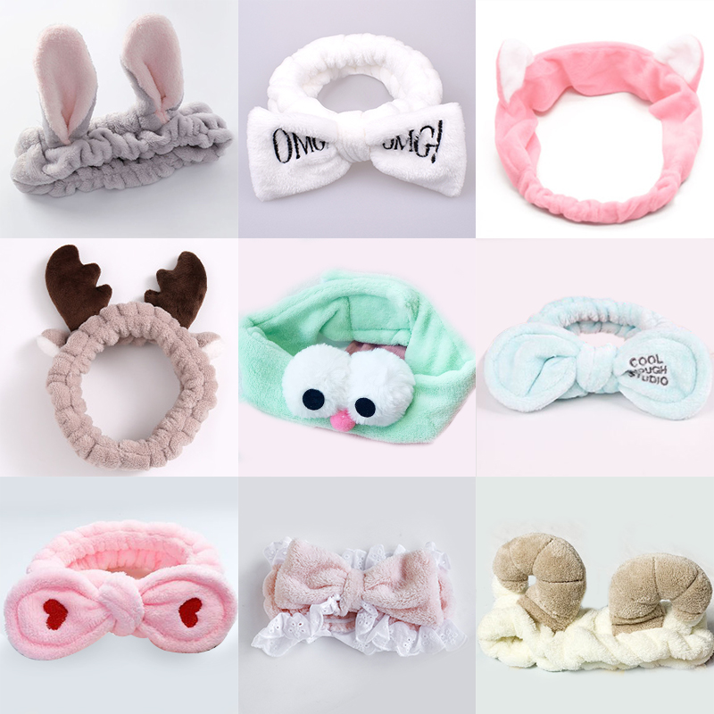 Women Stretch Hair Band Wash Makeup Mask Headband Children's Bow Ear Tiara Cat Rabbit Ears Headdress Cartoon Hair Accessories