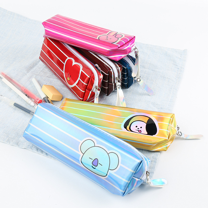 Korean-style Fashion Cartoon Striped Pencil Case Laser Multi-color Stationery Bag Young STUDENT'S Gift Kindergarten Storgage Bag