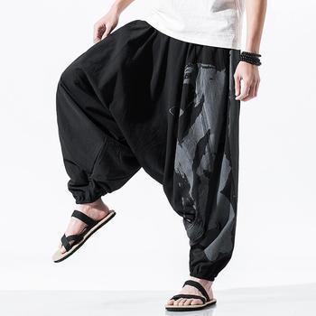 Nowy Vintage męska Wied spodnie nogi Streetwear spodnie typu Casual 2021 mężczyźni drukuj luźne spodnie dresowe dla joggerów mężczyzna Harajuku duży rozmiar 5XL tanie i dobre opinie HEWITTISD Cztery pory roku Szerokie spodnie CN (pochodzenie) COTTON Linen Daily Mieszkanie Z KIESZENIAMI LOOSE Pełna długość