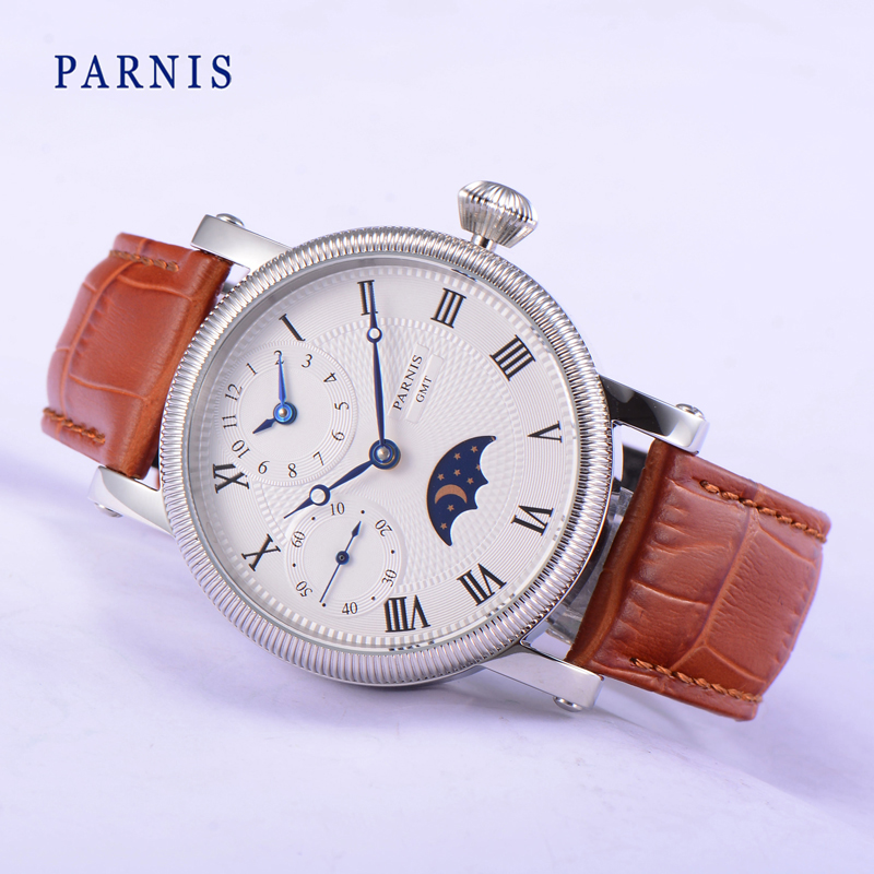 Fashion Parnis 43MM Hand Wind Men's Watch Blue Hands White Dial Brown Strap Moon Phase Mens Mechanical Hand Winding Watches 2019