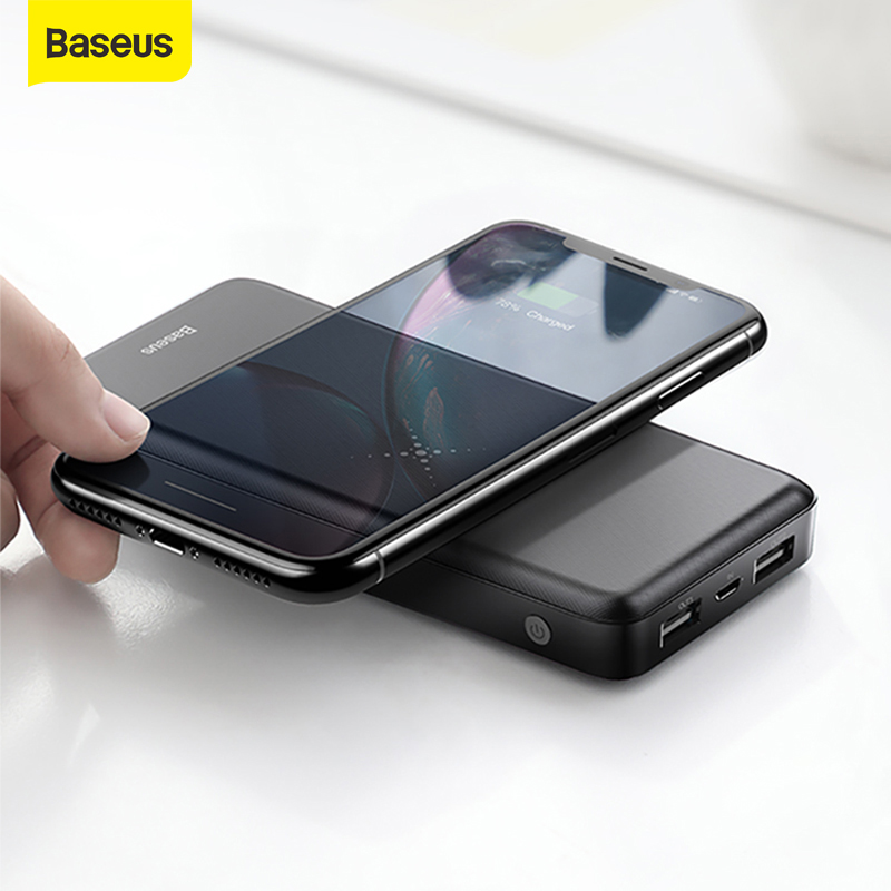 Baseus 10000mAh Power Bank Qi Wireless Charger Portable Powerbank Dual USB Power External Battery Fast Charger For xiaomi for iP