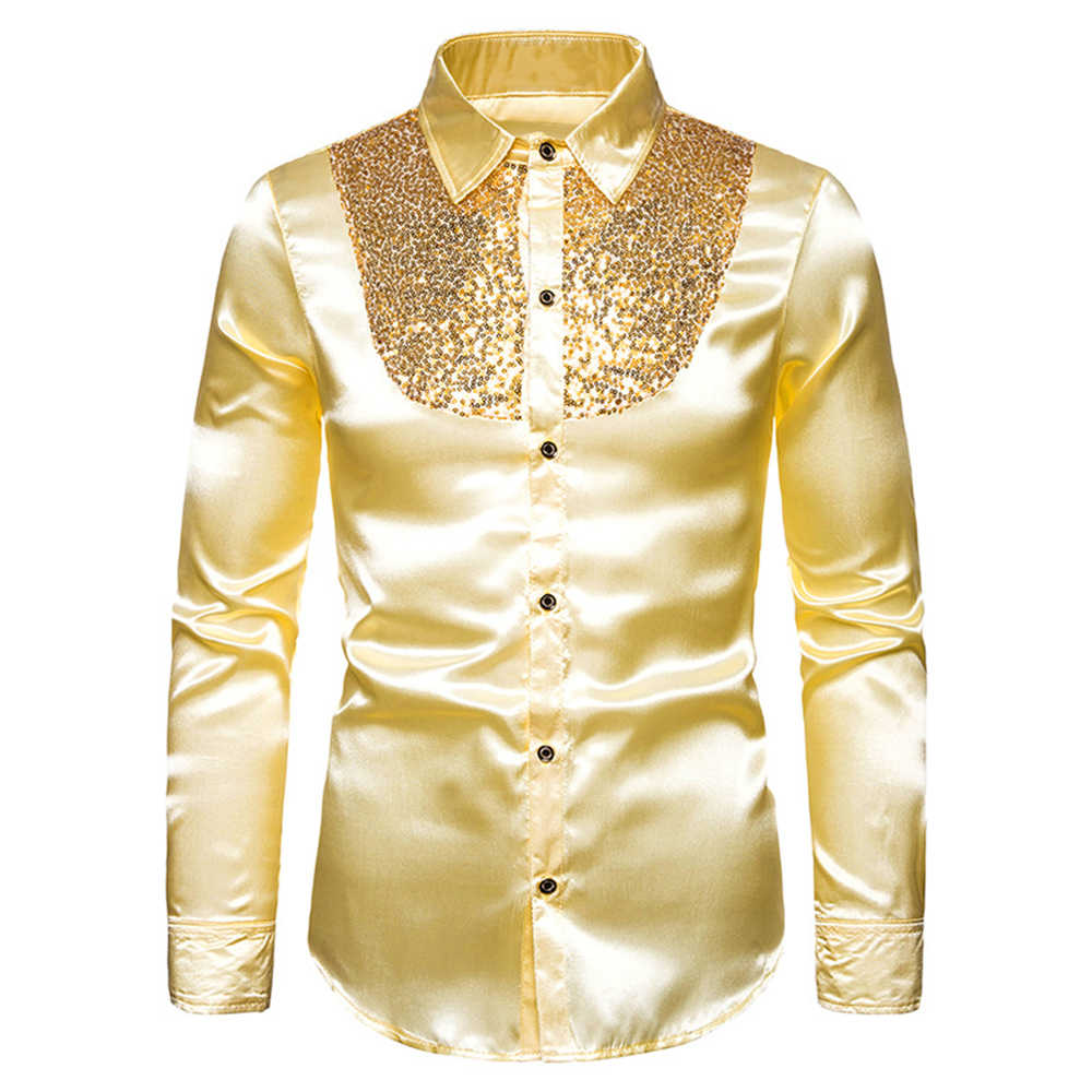 MoneRffi Sequin Silk Satin Shirt Men Wedding Groom Dress Shirts  Mens Nightclub Disco Dance Party Prom Custyme Chemise Homme