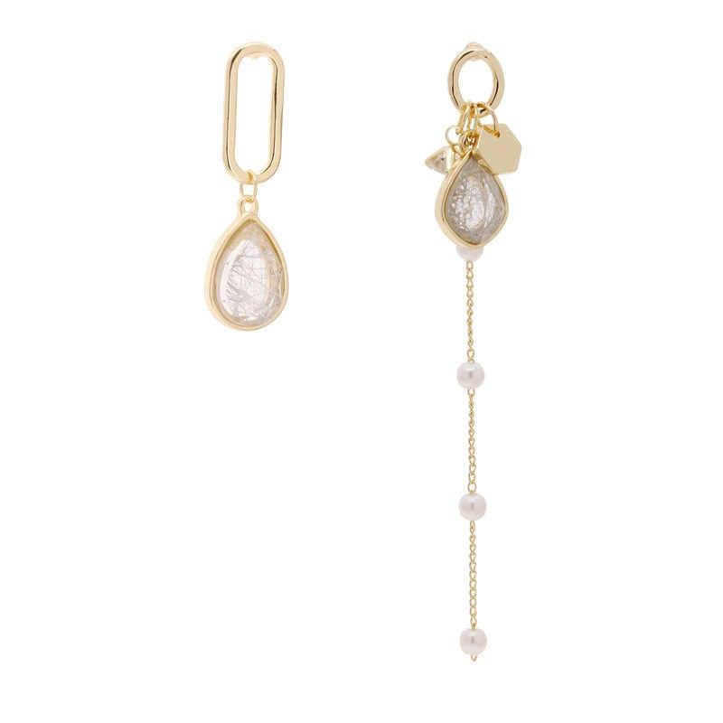 Han édition asymétrique zircon argent aiguille cristal boucles d'oreilles femme acrylique perle gland boucles d'oreilles français senior eardrop