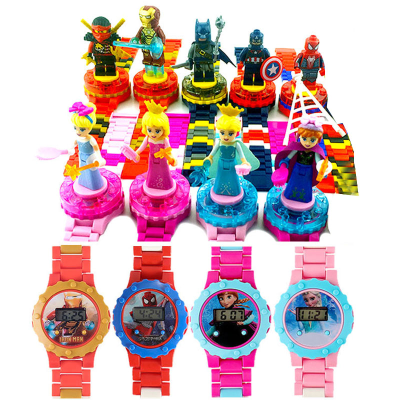 Children Watch Spiderman Ironman Batman Hulk  Moana Princess Building Blocks  Figures Children Watch Toys Kids Watch