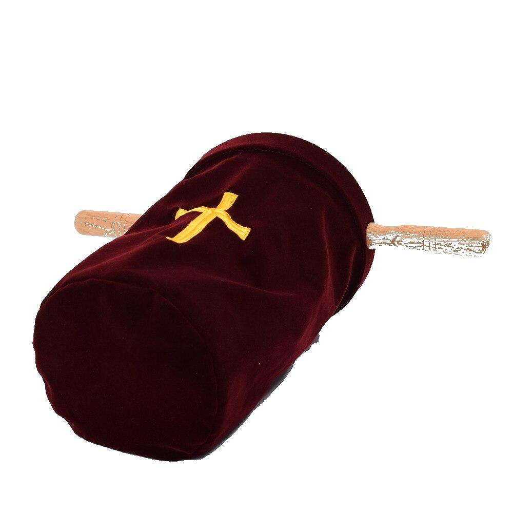 Velvet Blend Church Bag Church Cross Tithe Offering Bag with Wooden Handles