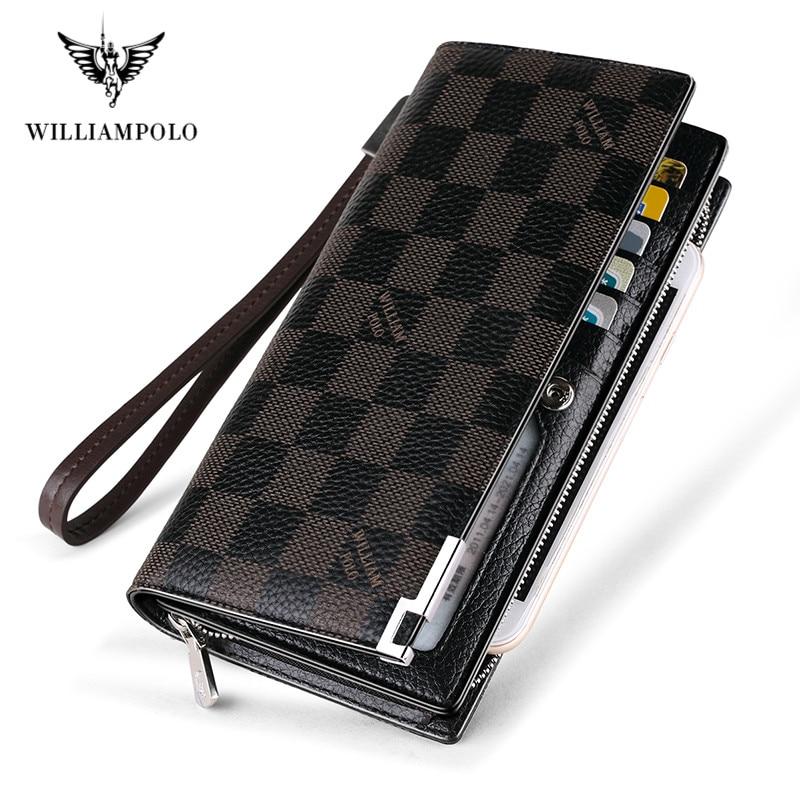 2020 New Fashion Men Long Wallet Genuine Leather Purse Handbags For Male Luxury Brand Zipper Men Clutches