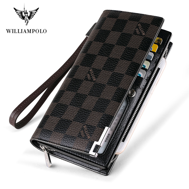 Williampolo 2020 New Fashion Men Long Wallet Genuine Leather Purse Handbags For Male Luxury Brand Zipper Men Clutches