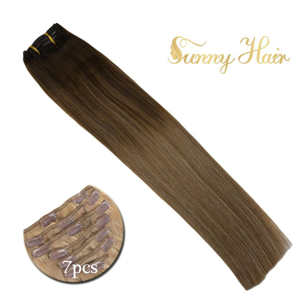 VeSunny Double Weft Clip In Hair Extensions 100% Real Human Hair 7pcs 120gr Balayage Brown With Dark Blonde #4/10/16