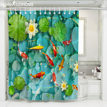 Clear Lotus Pond 3D Shower Curtain Flowers Psychedelic Decor Bath Bathroom Curtain Waterproof Mildewproof Fabric Shower Curtains flowers blossom waterproof bath curtain