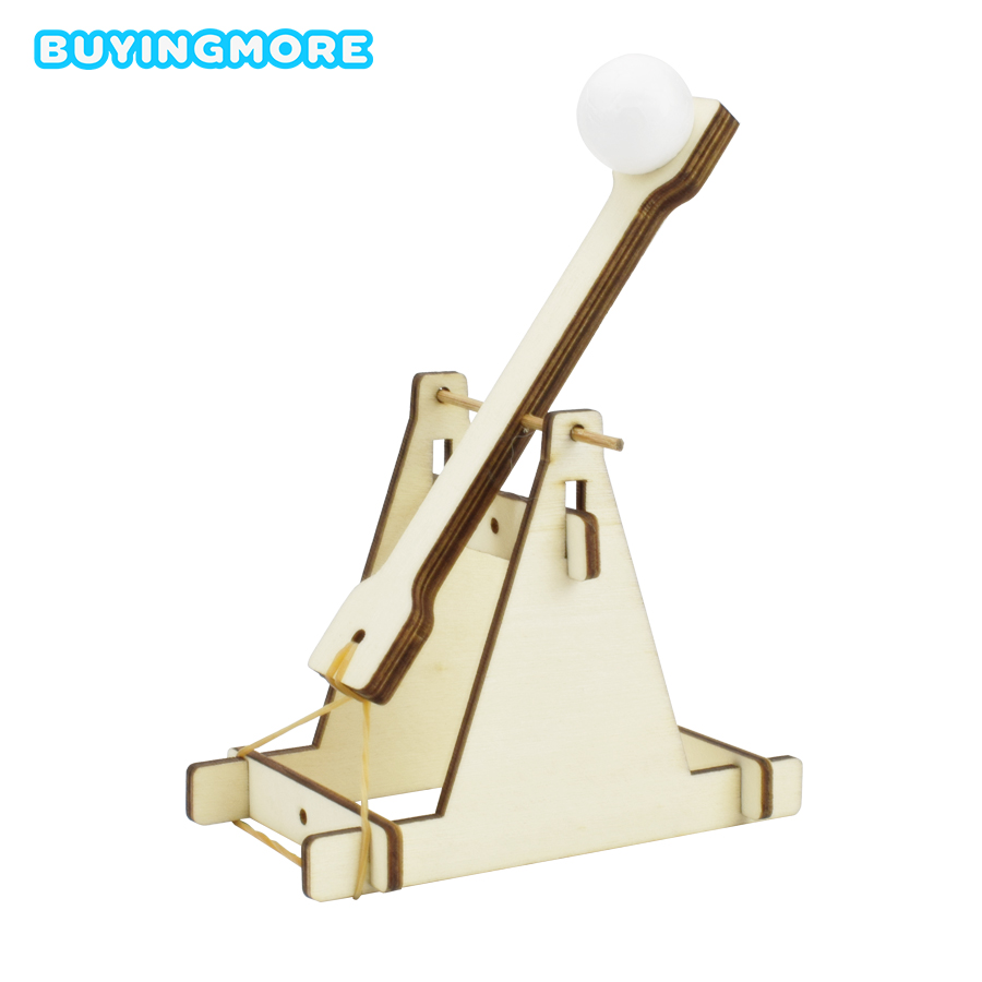 Wooden Catapult Model Kit DIY Trebuchet Educational Science Assembly Building Blocks Toys For Children Physics Experiment Games