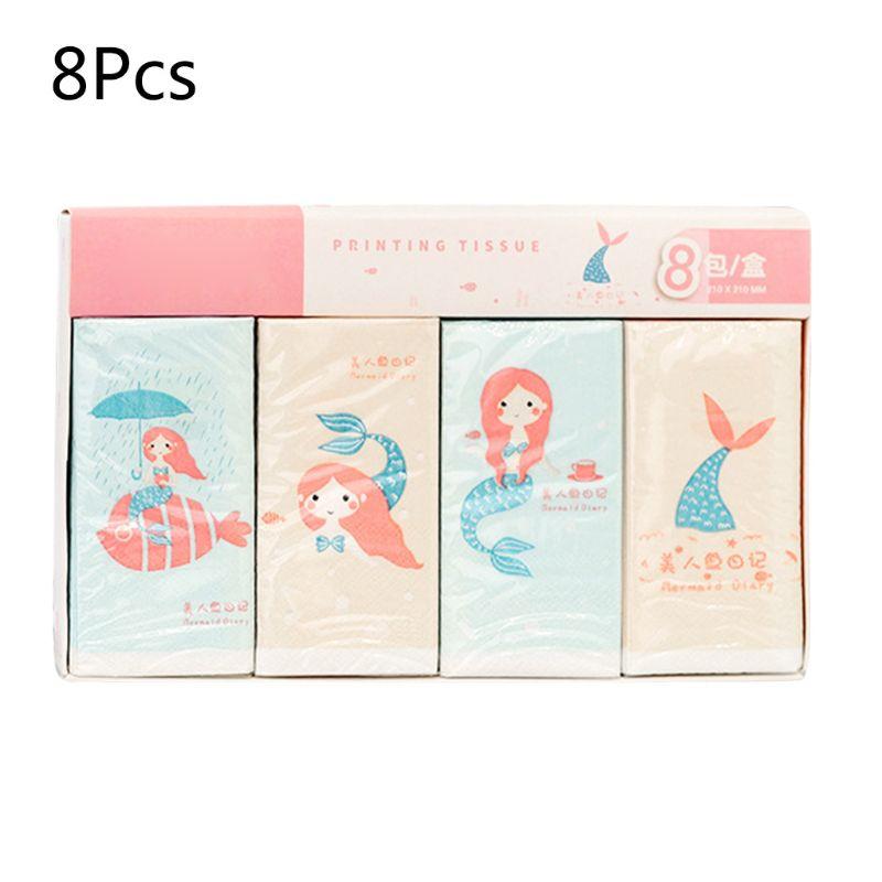 8 Packs Napkin Paper Cartoon Pattern 3-Ply Wood Pulp Facial Tissue Handkerchief X7YB