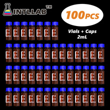 INTLLAB ChromatographyVial 2ml Hplc Vials and Blue Screw Cap with Hole 100pcs/Pack