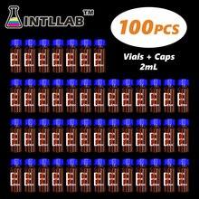 Intllab クロマトグラフィーバイアルと 2 ミリリットル hplc バイアルとブルースクリューキャップ穴 100 ピース/パック