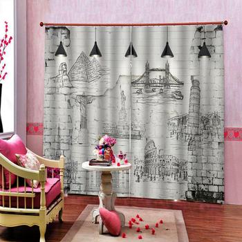 grey curtains draw romantic curtain 3D Window Curtain Dinosaur print Luxury Blackout For Living Room