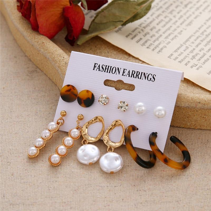 Bohemian Tassel Acrylic Earrings Set For Women Big Geometric Round Heart Pearl Rhinestones Earrings boucle doreille femme 2019 1