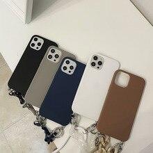 หินอ่อนหรู Amber สร้อยข้อมือสร้อยคอเคสโทรศัพท์สำหรับ iPhone 12 Pro Max X XS XR 7 8 Plus SE 11นุ่มซิลิโคน Funda