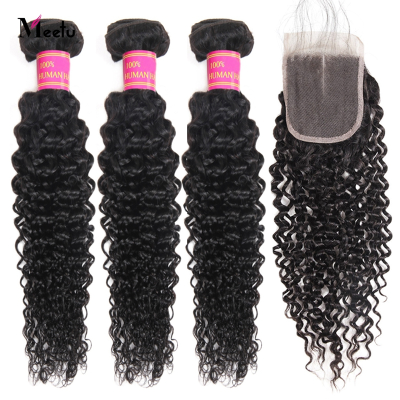 Meetu Kinky Curly Bundles With Closure Brazilian Hair Weave Bundles With Closure Non Remy 3PCS Human Hair Bundles With Closure