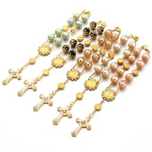 10pcs Top Quality Catholic Rosary Necklace Glass Pearl Beads Decade Pendent For Women Drilled Cross