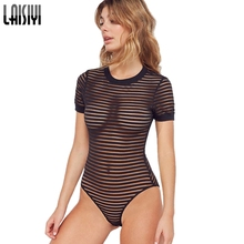 LAISIYI Striped Sexy Bodysuits Women Short Sleeve Transparent Fitness Jumpsuit B