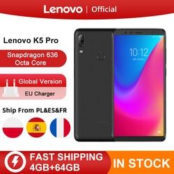 Перейти на Алиэкспресс и купить global version lenovo k5 pro 64gb snapdragon 636 octa core smartphone quad cameras 5.99 inch 4g lte phones 4050mah