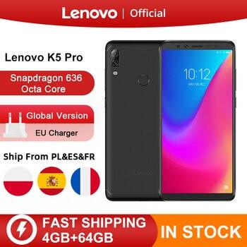 Versión Global Lenovo K5 Pro 64GB Snapdragon 636 Octa Core Smartphone Quad cámaras 5,99 pulgadas 4G LTE teléfonos móviles 4050mAh