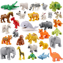 10pcs/lot Duploe Big Size Diy Building Blocks Dinosaurs Wild Animal Figures Toys Compatible Duploed Toys For Children Kids Gifts цена 2017