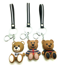 Cute Teddy Bear Keychains Cartoon Stereo Pendant PVC Key Chain Men And Women Car Bag Pendant Accessories Key Ring Small Gift 2020 headset bear key chain pendant creative cute cartoon doll keychains women bag car key ringchildren s gift toys key ring