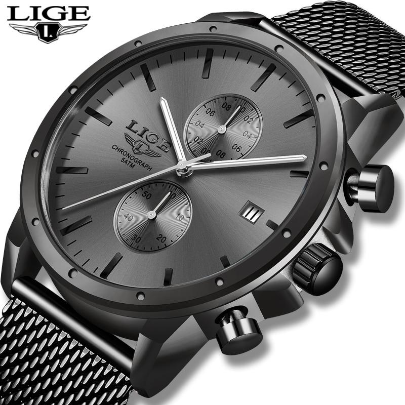 LIGE Mens Watches Top Brand Luxury Business Watch For Men Stainless Steel Mesh Belt Waterproof Clock Fashion Quartz Watches 2020