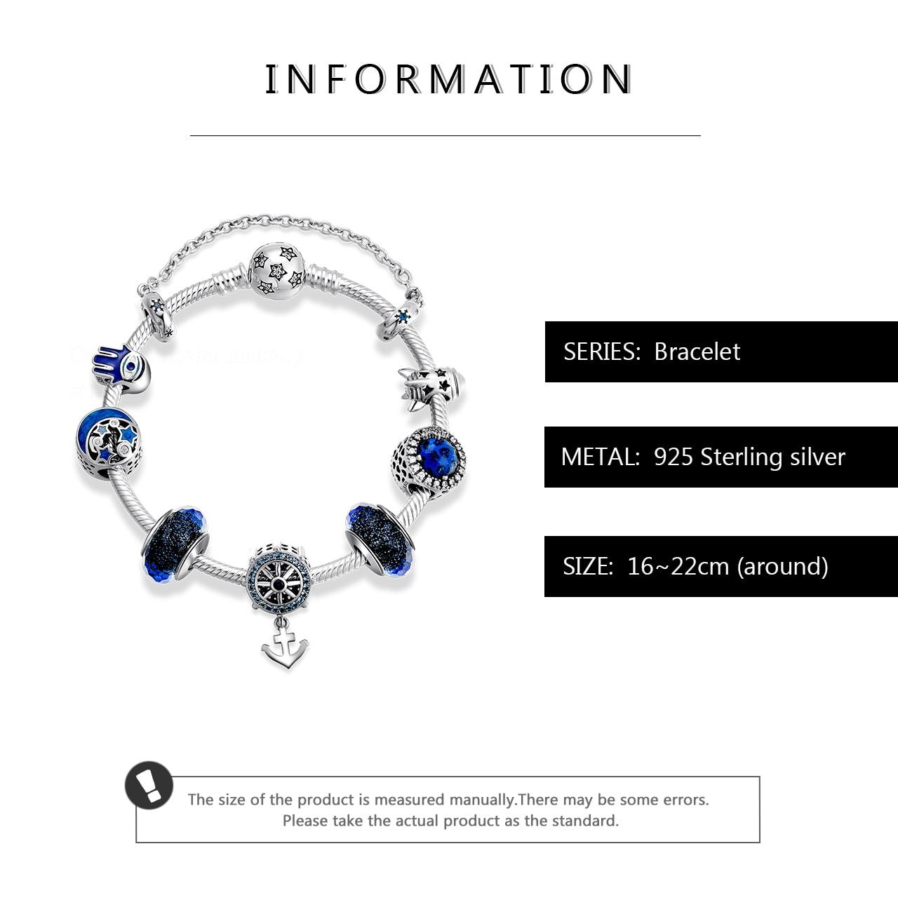 Настоящее серебряные бусины 925 пробы браслеты классические якорь кулон с бусины из муранского стекла браслет для женщин ювелирные изделия - 3