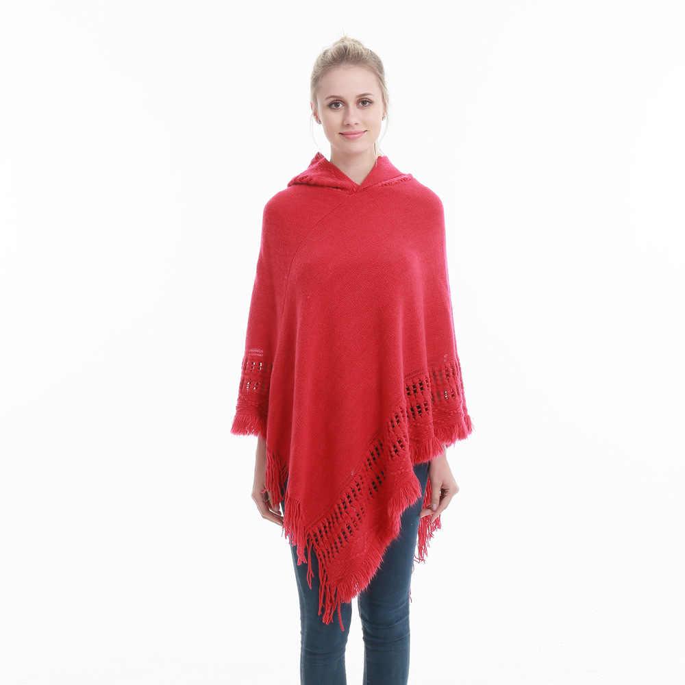 특대 겨울 여성 니트 모자 판초 술 두꺼운 스웨터 풀오버 캐주얼 스카프 배트윙 슬리브 점퍼 솔리드 민소매