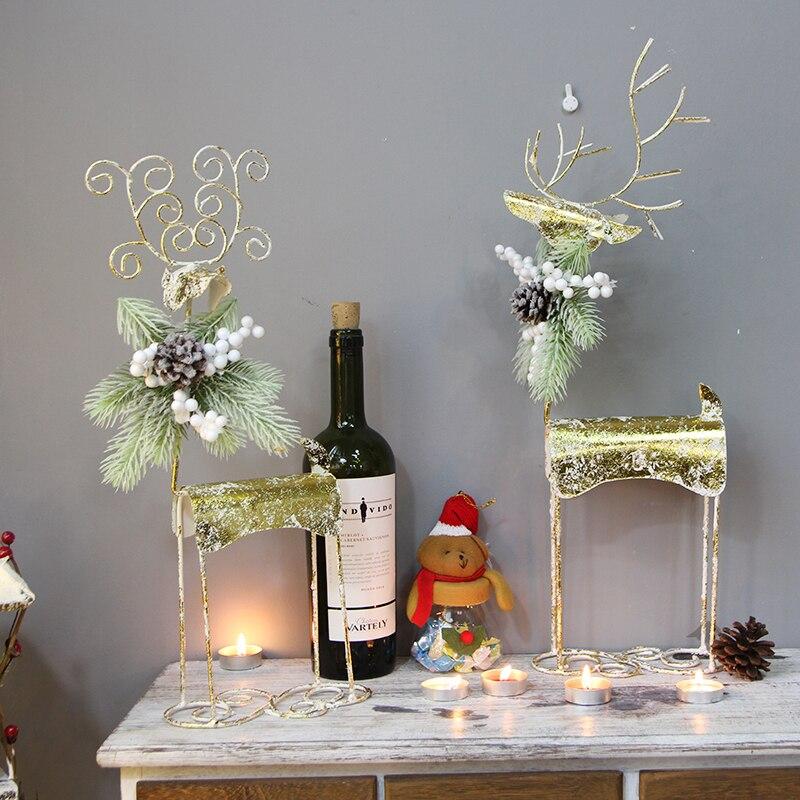 Ручная работа, Золотой Рождественский северный олень, украшение для дома, Рождественский Декор, вечерние украшения для праздничного салона
