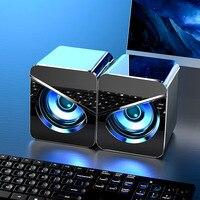 Mini altavoz de ordenador con USB, altavoces cableados 3D 4D, sonido estéreo envolvente, luces LED para PC, portátil, smartphone, MP3, MP4