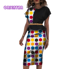 2 Pieces Women African Skirt Set Bazin Riche Traditional Top and Skirts for Office Lady Suits WY5216