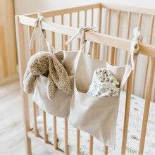 Bed Hanging Storage Bag Crib Organizer Baby Infant Bed Nappy Toy Organizer Storage Bag Hanging Bag Diaper Toys Bedding Hang Bag