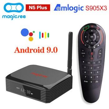 Magicsee N5 PLUS Amlogic S905X3 Android 9,0 TV Box 4GB 64GB 100M Dual Wifi 4K TVbox 8K Youtube Set de reproductor multimedia Top Box