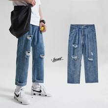 Summer Ripped Jeans Men's Fashion Washed Retro Straight Men Streetwear Loose Hip Hop Hole Denim Trousers Mens M-2XL
